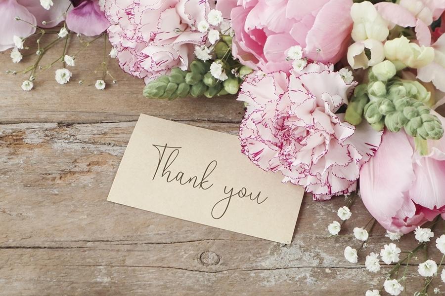 花束とThank youのメッセージ