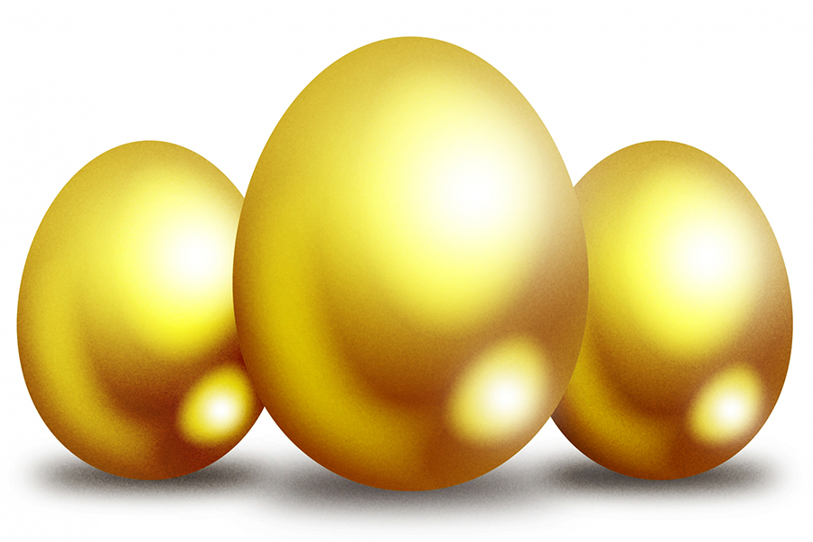 3つ並んだ金の卵
