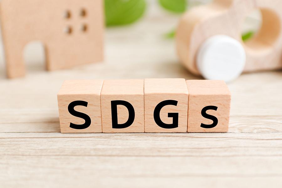 木製のブロックに書かれたSDGsの文字